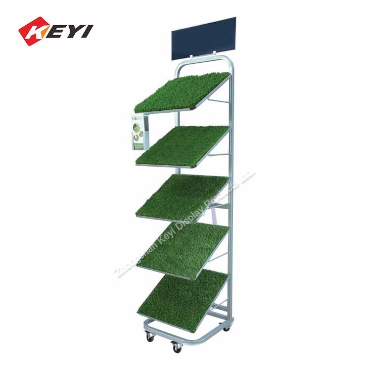 Custom Garden Shop Metal Artificial Grass Sample Rack / Artificial Grass Display Stand