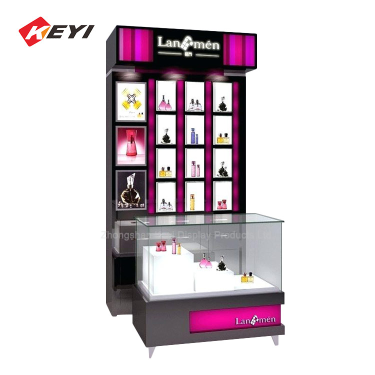 Perfume Retail Shop Interior Layout Wooden Perfume Display Cabinet