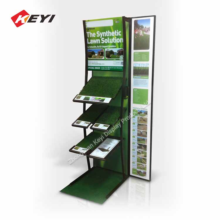 Custom Retail Shop Metal Artificial Grass Display Rack