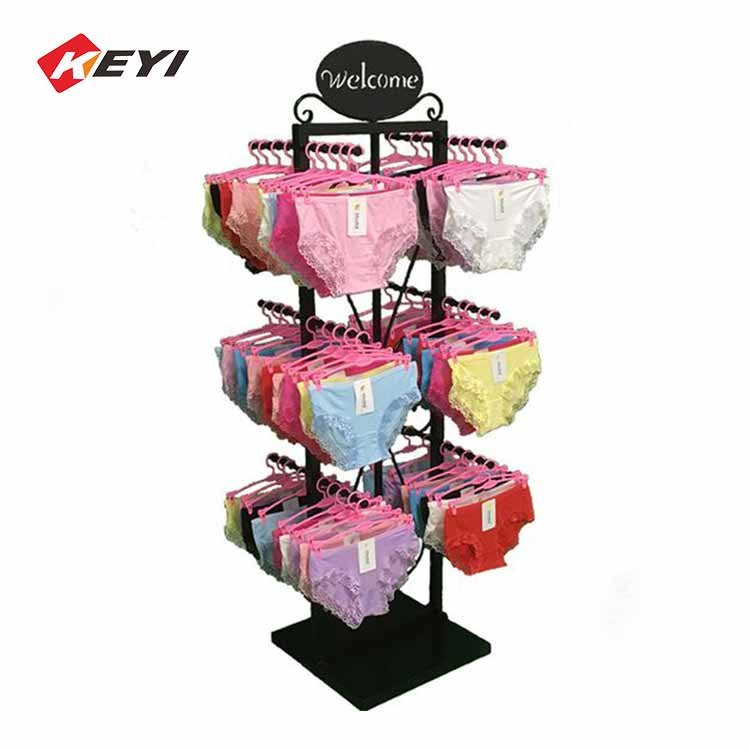 Floor Black Metal Hook Display Underwear / Bra Display Rack