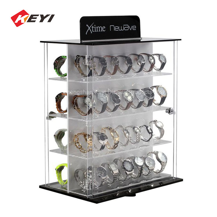 Retail Store Desktop Acrylic Rotating Watch Display Stand