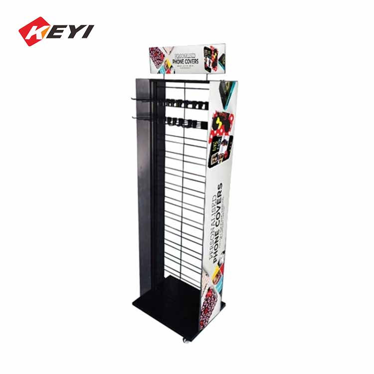 Double Sided Hanging Cell Phone Case Display Rack With Pivoting Casters