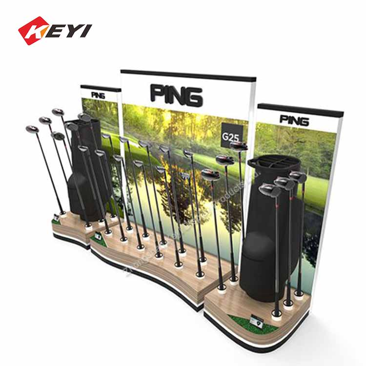 High-end Retail Store Wooden Golf Club Display Stand