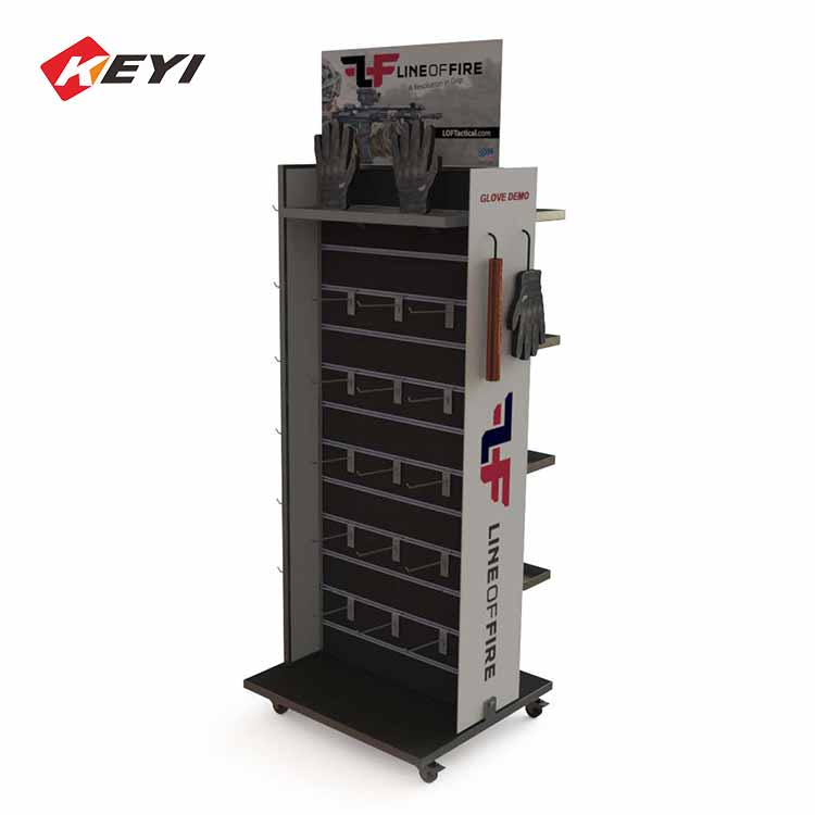 Double Sided Gloves Display Stand With 4 Casters