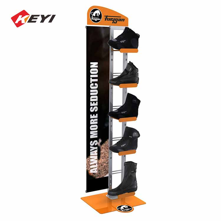 Custom Single Sided Metal Basketball Shoes Display Stand With Advertising Board