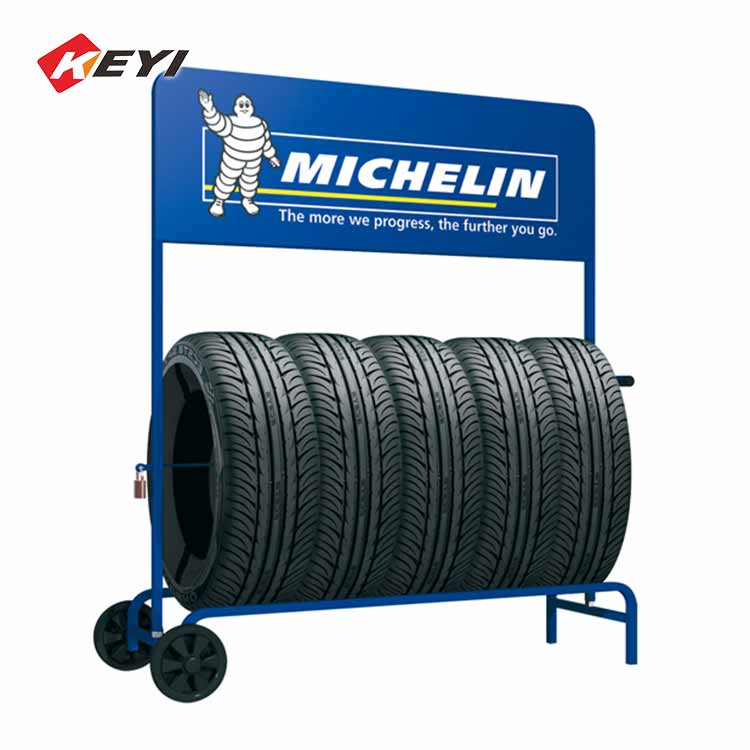 mobile tire display stand with logo printing