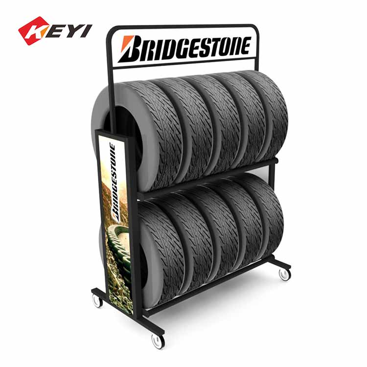 2 tier mobile tire display rack with 4 caster wheel