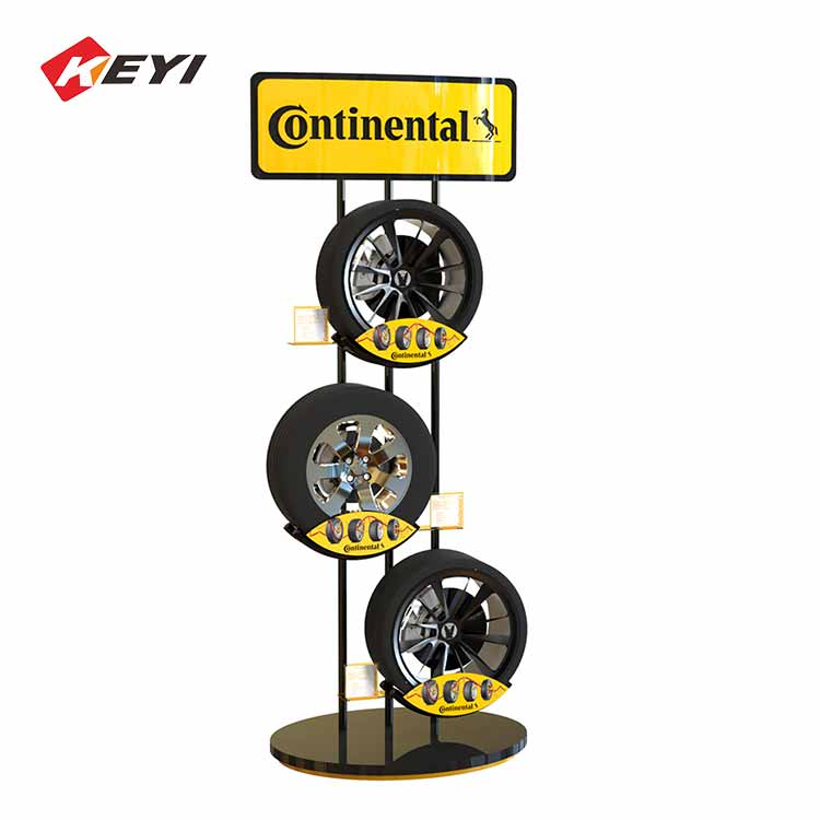 retail shop floor car tire display stand for sale,3 shelves