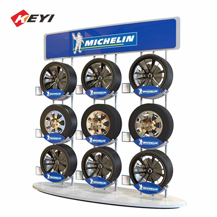 custom tyre retail shop freestanding wheel and tire display stand - 9 Shelves