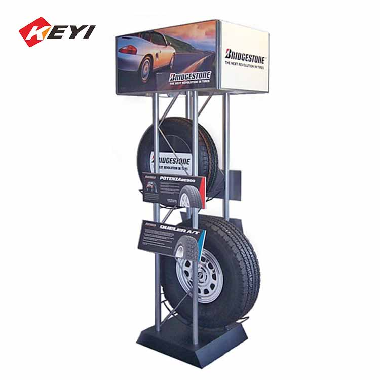 metal floor auto tyre display rack with ads signs