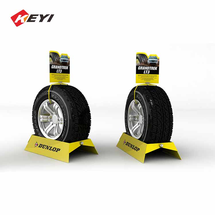 single car tire displays wheels,tire racks,tire stands,with metal sign