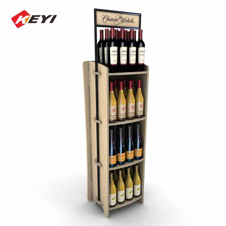 Easy To Assemble Double Sided Wooden Wine Display And Storage Rack - 3 Tier