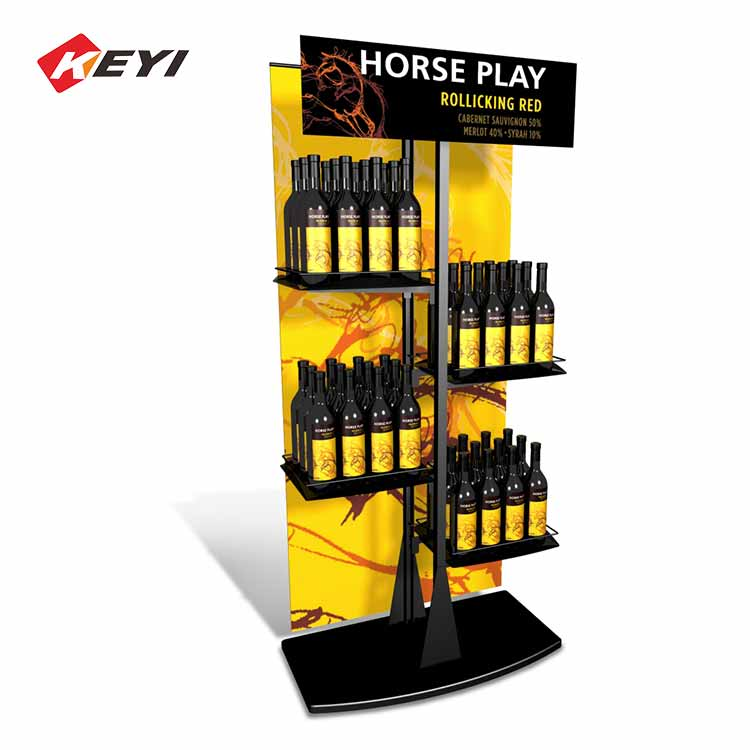 Vertical Metal Wine Bottle Display Stand For Retail - 4 Shelves With Sign Holder Frame