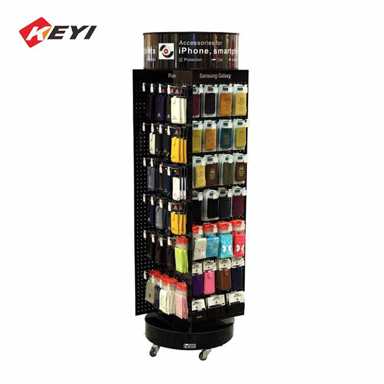 4 sided rotating display stand for hanging mobile phone accessories,with 4 caster
