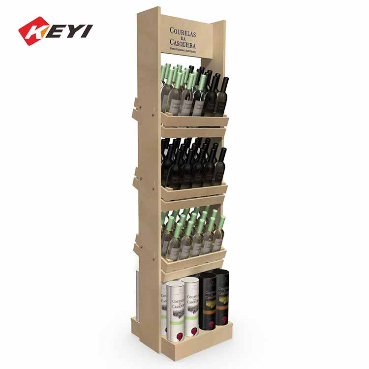 easy to assemble wooden beer and wine bottle display case - 4 tier
