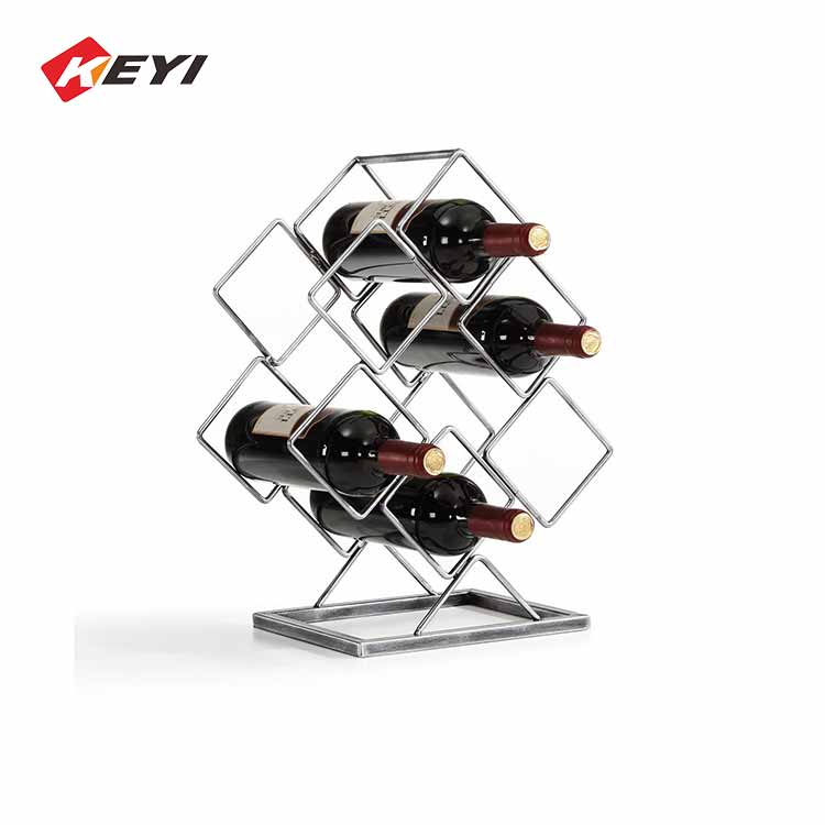 Electroplated Iron Wire Wine Storage Rack,6 Bottle
