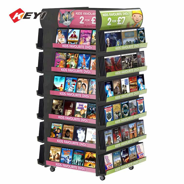 shopping mall large retail dvd display stand with mobile casters