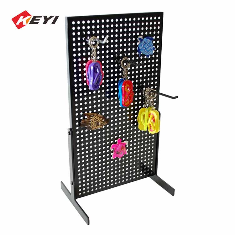 metal perforated plate hanging keychain display rack with hooks - black