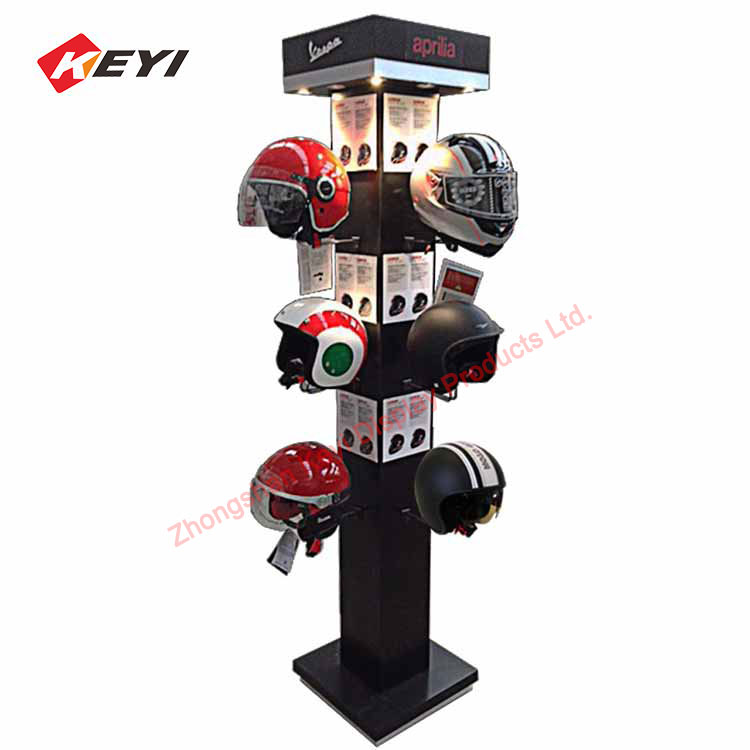 Freestanding 4 Sided Hanging Motorcycle Helmet Display Stands With Led Light