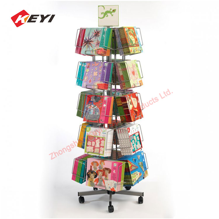 Mobile Metal Iorn Wire Holder Stand Card Display Floor Rack