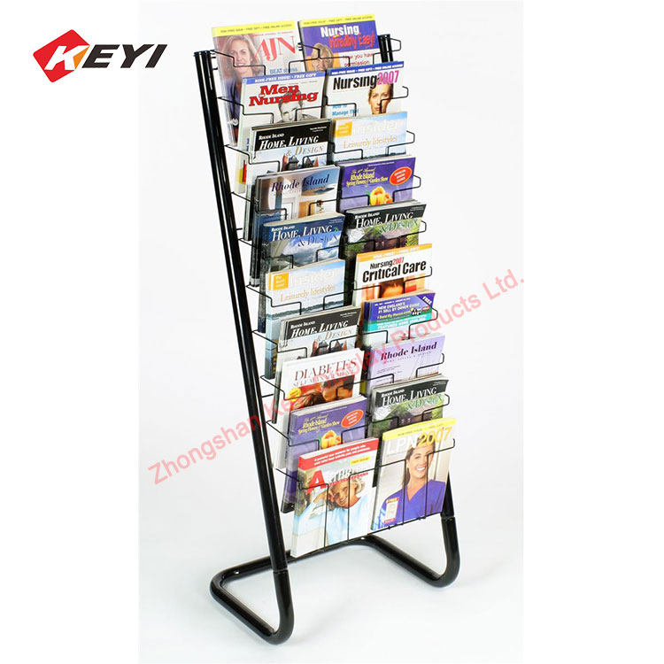 Custom Outdoor Free Standing Metal Wire Holder Product Brochure Display Stand