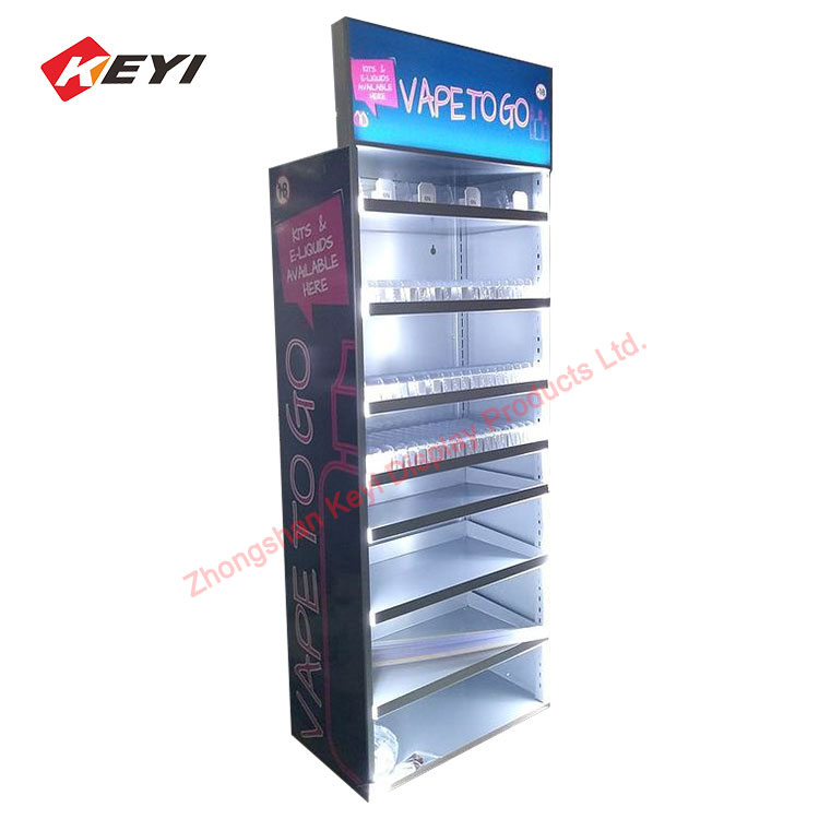 tobacoco shop display furniture with 6 tier metal shelf and pusher retail tobacco cigarrette display cabinet